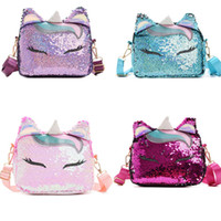 paillettes multicolores achat en gros de-Sac bandoulière Lady Sequins 10 Design Cratoon Magic Color Sac Messenger Licorne Multi-fonction Carré Sacs Porte-monnaie