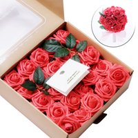 Wholesale centerpieces boxes for sale - Group buy 50pcs Artificial Flowers Coral Roses Real Looking Fake Roses For DIY Wedding party Decor Bouquets Centerpieces gift box craft