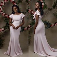 плюс размер бежевый невесты платья оптовых-Плюс размер черные девушки африканские элегантные платья русалки невесты с короткими рукавами спинки вечернее платье ogstuff Vestidos