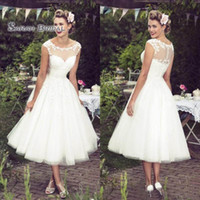 Wholesale inverted triangle wedding dresses resale online - Vintage Plus Size Wedding Dresses Lace A Line Short Bridal Dress Boho Bride Party Gowns Sheer Neck Backless