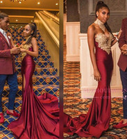 Wholesale hot sexy girls party dresses resale online - 2019 Modest Burgundy Mermaid Prom Dress Sexy Black Girl High Neck Gold Appliqued Evening Dress Hot Formal Party Gown Custom Made BC2052