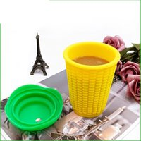 Wholesale mugs sale resale online - 300ML Silicone Cup Corn Lovely Water Mug Tumbler Vegetables Fruits Without Straw Portable Hot Sale qc UU