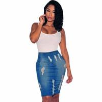 saias de lapis de poliéster venda por atacado-JAYCOSIN Mulheres Estiramento Bodycon Lápis de Cintura Alta Buraco Jeans Jeans Curto Mini Saia Sólida Poliéster saias do sexo feminino 20190211