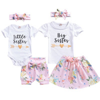 saias pequenas camiseta venda por atacado-Summer Sister Matching Outfit Baby Girl Crianças Big Sister T-shirt + Saia / Little Romper + Shorts Roupas