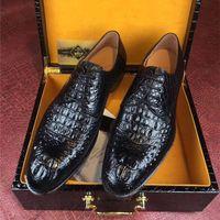 echtes krokodilleder großhandel-Luxus Authentic Crocodile Head Skin Herren Business Kleid Schuhe Exotic Genuine Real Alligator Leder Handmade Male Schnürschuh