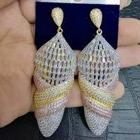 indische brautohrringentwürfe großhandel-Großhandel Luxus Icecream Design Afrikanische baumeln Ohrringe für Frauen Hochzeit KubikZircon Kristall CZ Dubai indische Braut Ohrringe
