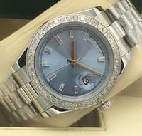 ingrosso orologio meccanico del platino del mens-Trasporto libero di alta qualità Platinum DAY-DATE 228345 quadrante blu automatico meccanico orologio da uomo in acciaio inossidabile Orologi casual da uomo