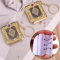 müsrifî kolye takı toptan satış-Müslüman Anahtarlık Mini Ark Kuran Kitap Anahtarlık Arapça OPP Anahtar kolye Aksesuarları El Sanatları Anahtar Yüzükler Takı Destek FBA Drop Shipping M177F