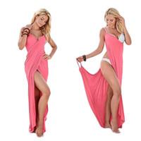 maxi vestidos rojos más talla al por mayor-Verano Sexy Maxi Vestido Mujer Boho Cover Ups Sin mangas Más Tamaño Vendaje Blanco Rojo Vestidos largos ropa de diseñador