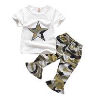 traje de ejército de niños al por mayor-Verano para niños pequeños Ropa de niña Bebé Camisetas + Pantalones de camuflaje Niños Niñas Traje deportivo Ropa para niños Ejército Set 1 2 3 4 años