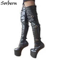 Sorbern Hoof Sole Heelless Over The Knee Crotch High Boots For Women Buckle Straps Designer Brand Platform Crotch Hi shoes Black Matt Boot