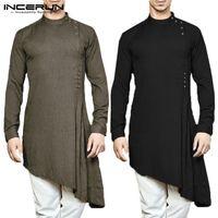 terno dos indianos dos homens venda por atacado-INCERUN Camisa Dos Homens Indiano Kurta Terno de Algodão de Manga Longa Cor Sólida Bainha Assimétrica Homens Camisa Longa Islâmico Muçulmano Árabe Kaftan