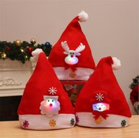 Wholesale new christmas lights for outdoor for sale - Group buy LED Christmas Hat Child Santa Red Accessories Decorations For Holiday Party New Year Supplies c089