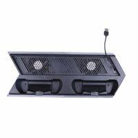 carregador de choque venda por atacado-Suporte vertical com ventilador USB para Sony PlayStation 4 Console para PS4 Controladores Dual Shock Charging Station 4