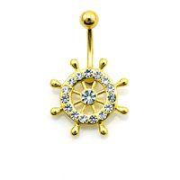 bling çiçek düğmesi toptan satış-Moda Kadınlar Tasarımcı Navels Lüks Kristal Göbek Vücut Takı Bling Bling Elmas Çiçek Bell Düğme Yüzük Zaman Sınırlı