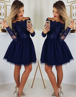 Wholesale gold evening dresses homecoming resale online - Cheap Navy Blue Appliques Tulle Blue Prom Dresses For Teens Girl Homecoming Formal Evening Dress Wear Long Party Bridesmaid Cocktail Gowns
