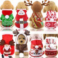 костюм для новогоднего кота оптовых-Рождество Pet одежда мультфильм зима Плюшевые костюмы Симпатичные Собаки Кошки Санта Printted Одежда Рождество пальто Pet костюм украшения HHA932