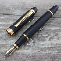 füllfederhalter für jinhao großhandel-Luxus Füllfederhalter X450 GEFRORENE SCHWARZE UND GOLDENE FEDER 1mm BREITE FEDER FÜLLFEDERHALTER JINHAO 450