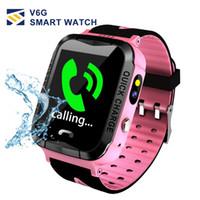 kid gps tracking uhr großhandel-V6G Kinder Smart Watch Ip67 Wasserdichter GPS-Tracker SOS Call Kamera Tracking Alarm mobile Positionierung Smart Uhren für Kind Kind