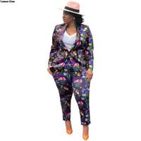 senhoras floral blazers venda por atacado-Lemon Gina impressão floral pescoço entalhado manga comprida blazers calças compridas ternos conjuntos de 2 pcs das mulheres do escritório senhora roupa treino LGF75