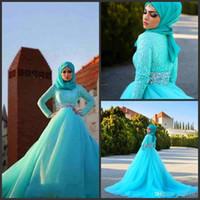 vestido de tul hijab venda por atacado-2019 Novos Vestidos de Casamento Hijab Árabe Azul Tule Rendas De Cristal Vestidos De Noiva A Linha Sweep Trem de Manga Comprida Vestidos de Casamento Muçulmano Custom Made