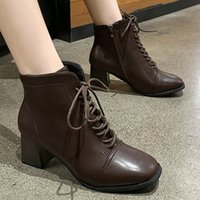 Wholesale brown boot dress shoes resale online - 2019 New Classics Spring Autumn Female Ankle Boots Women s Square Toes Square High Heels Booties Woman Cozy Daily Dress Shoes