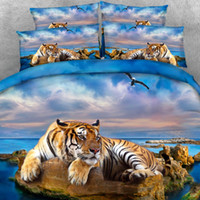 Wholesale 3d tiger bedding sets for sale - Group buy Goldeny Parts Per Set Magnificent Tiger relaxing on rocky beach HD Digital d animal bed set