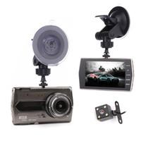 Wholesale car display cases resale online - 4 inches metal case car DVR driving video camera car dashcam full HD P Ch dual lens night vision G sensor parking monitor