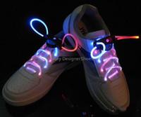 cordones de neón brillantes al por mayor-Llevó la luz que brilla luminoso, cordón cordones del zapato del palillo del resplandor parpadeante neón de color Chaussures cordón del LED