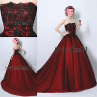 Wholesale balls hand made for sale - Group buy Kaftan Abaya Black And Red Long Prom Dresses Elegant Strapless Tulle Formal Evening Gowns Court Train Quinceanera Dress Vestido de fiesta