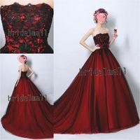 ingrosso sera nera abaya-Kaftan Abaya nero e rosso lungo abiti da ballo Elegante senza spalline in tulle abiti da sera formale Corte dei treni Quinceanera Dress Vestido de fiesta