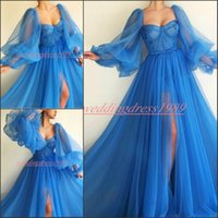 Wholesale blue pink puffy long prom dresses for sale - Sexy Puffy Long Sleeve Evening Dresses Split Sweetheart Sheer Tulle Prom Dress Pageant Gowns Plus Size African Celebrity Formal Party