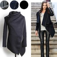 avrupa vintage giyim toptan satış-Güz Kış Uzun Kaşmir Palto Kadınlar 2019 Avrupa ve Amerikan Moda Ince Blazer Boyun Uzun Yün Rüzgarlık Giyim Mont Kadınlar için