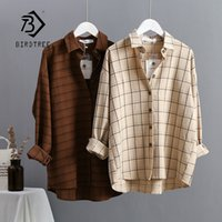 Wholesale front back collars resale online - New Arrival Women Plaid Oversize Blouse Batwing Sleeve Front Short Back Long Shirt Turn Down Collar Casual Top T200225