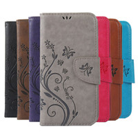 leder blume handy fall groihandel-Druck Schmetterling Blume Leder Flip Book Wallet Handy Fall für Lenovo A536 A319 S90 S850 P70 Soft Cover Fall