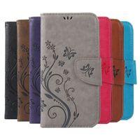 impresión de libros de cuero al por mayor-Imprimir mariposa flor de cuero Flip Book Wallet caja del teléfono celular para Lenovo A536 A319 S90 S850 P70 caso de la cubierta suave
