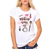ingrosso rossetto t-shirt-Smalto per unghie Smalto per unghie Rossetto stampato T-shirt Trucco moda T-shirt sexy Estate Manica corta T-shirt slim