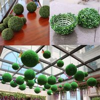 césped artificial de interior al por mayor-Yoshiko 5PCS 5inch Artificial Grass Topiary Balls Out / Indoor Hanging Ball Wedding Party Home Yard Garden DIY Decoration