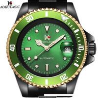 auto relógio do exército venda por atacado-AOKULASIC Homens de pulso Auto Data Top Marca de luxo D18100709 Esporte Automático Relógio Mecânico Exército Militar Relógios Relógio Masculino