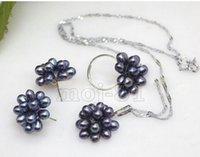 anillo de perlas de racimo negro al por mayor-ENVÍO GRATIS + Conjunto de anillos de collar de aretes de perlas de agua dulce de arroz negro bastante natural