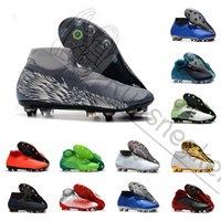 ag futbol ayakkabıları erkekler toptan satış-Phantom VSN Vizyon Elite DF FG AG ERKEKLER futbol cleats Üniversitesi kırmızı Balck Gümüş Yüksek Ayak Bileği Futbol Cleats Futbol Ayakkabıları Boyutu 39-45