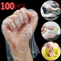 Wholesale pe screen online – 100PCS Pack Transparent Eco friendly Disposable Gloves Latex Free Plastic Food Prep Safe Household Off Bacteria Virus Gloves Touchless