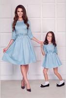 Wholesale matching clothing for mom daughter resale online - family mom and daughter matching clothes bows half sleeve mother baby dresses mommy me outfits for girls mama family look dress