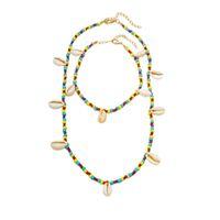 collar de cadena de arroz al por mayor-Collar Shell Collar Collar de perlas de arroz de colores Cadena de suéter para el tobillo Joyería de dos piezas