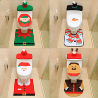 Wholesale towel cartoons resale online - Santa Claus toilet cover Santa toilet cover foot pad water tank cover paper towel set toilet three piece set of fine flannel personali