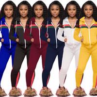 ingrosso gli yoga vestono all'ingrosso-all'ingrosso donna due pezzi tuta tuta con cappuccio abiti legging a maniche lunghe camicia pantaloni della tuta pullover collant sportsweart hot klw0104