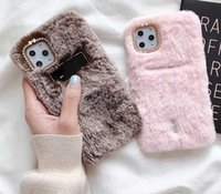 Wholesale rabbit fur note case for sale – best Soft Rabbit Hair Phone Case For iPhone Pro Max Card Slot TPU Cute Fluffy Fur Cover Samsung Note10 S9