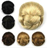 clip donut buns venda por atacado-Simples e elegante de alta temperatura do cabelo sintético coque de cabelo Preto / ouro / marrom de 6 cores do cabelo coque clipe de senhoras
