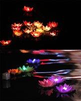 dekorasyon suları toptan satış-Yeni Gelmesi Çapı 19 cm LED Lotus Lambası Renkli Değişen Yüzer Su Havuzu Isteyen için Işık Lambaları Fenerler Parti Dekorasyon