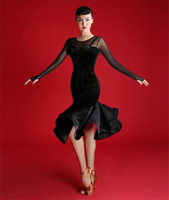 Wholesale adult ballroom dance dress for sale - Group buy 2019 New Adult Girls Latin Dance Dress Salsa Tango Cha cha Ballroom Competition practice Dance Dress Black sexy slim long sleeve velvet Dres